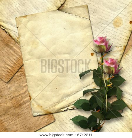 The Paper Grunge Background With The Roses.