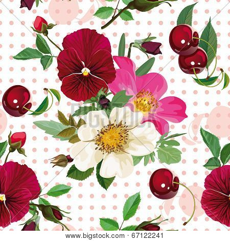 Seamless Pattern Of  The Roses, The Pansies And  The Cherries