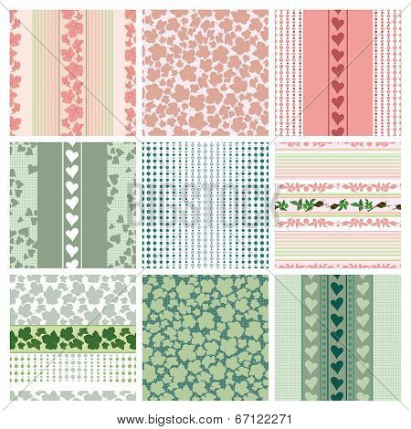 Seamless Patterns Of The Roses And Leaves, Set