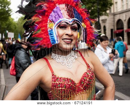 Elaborately Dressed Transgender During Parade
