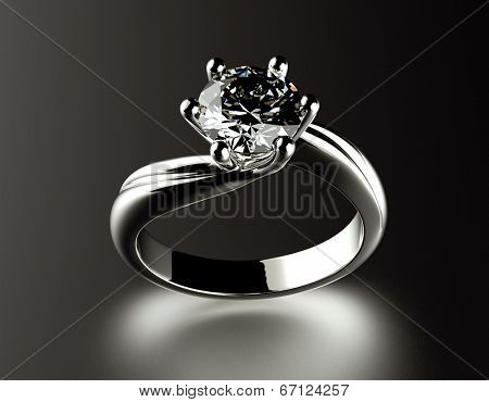 Golden Engagement Ring with Diamond or moissanite on black background. Jewelry background