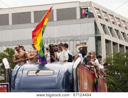 Group Unidentified Participants During Gay Pride Parade