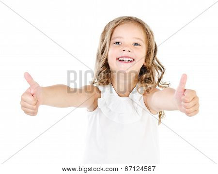 Happy Cute Little Girl With Two Thumbs Up