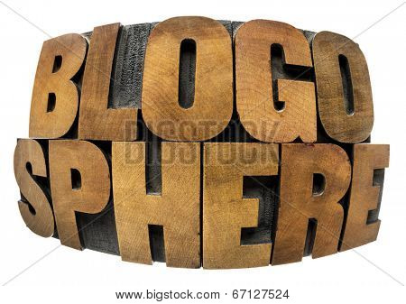internet concept - blogosphere word in fisheye lens perspective - isolated in text in vintage letterpress wood type