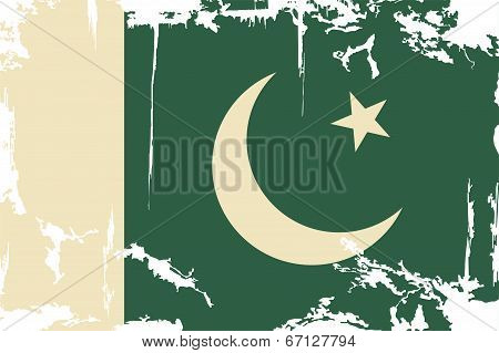 Pakistani grunge flag. Vector illustration