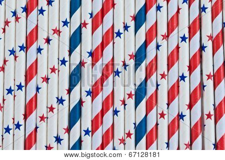 Colorful Stars And Stripes Straws