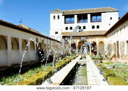 Courtyard Of The Acequia In Generalife, Alhambra, Granada