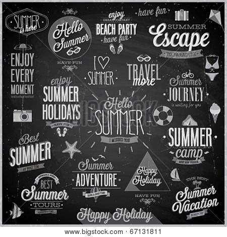 Summer and Travel set - labels and emblems - Chalkboard.