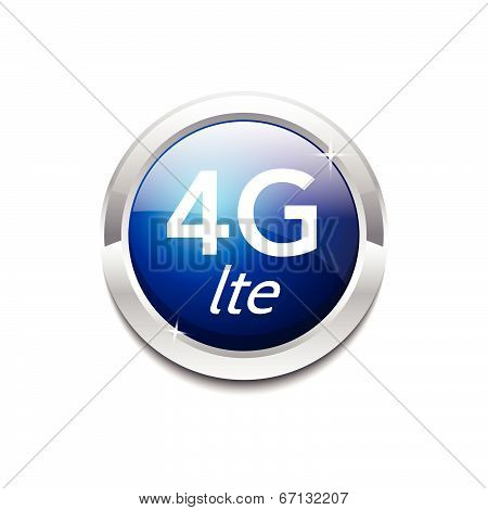 4g Sign Circular Blue Vector Button Icon
