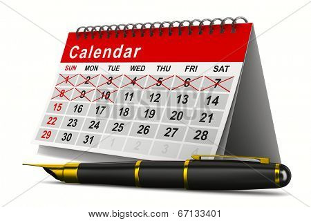 Calendar and pen on white background. Isolated 3D image