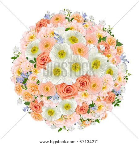 Pastel Flower Bouquet on white.