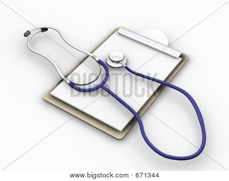 Estetoscopio en portapapeles