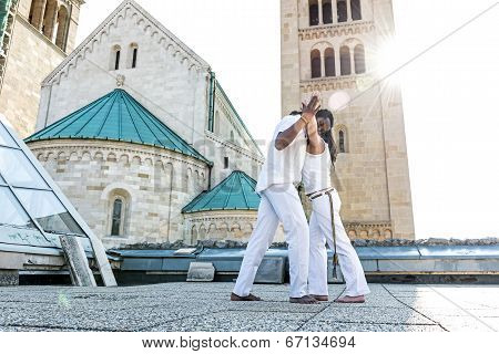 Young pair capoeira partnership spectacular sport
