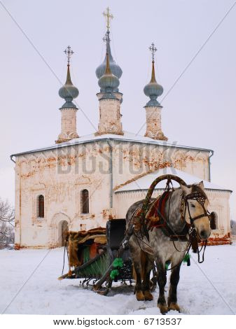 Orthodox Russia. The horsy and ancient church