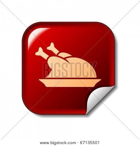 Chicken icon on red web sticker