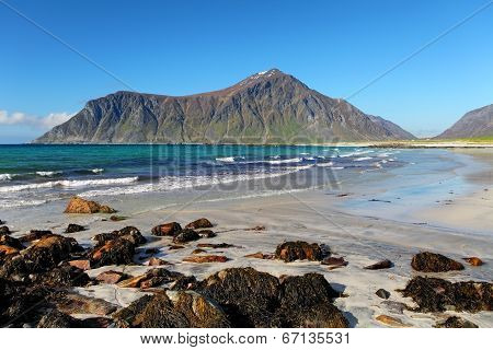 Beach On Lofoten Islands In Norway