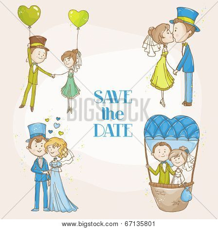 Bride and Groom - Wedding Doodle Set - for Scrapbook, Invitation, Wedding Decoration - in vector