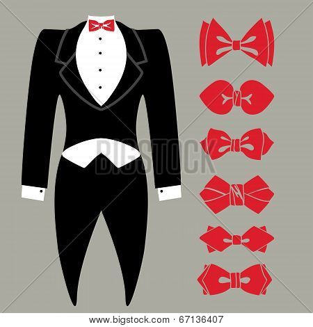 Vector Tuxedo With Colored Bow Tie Set