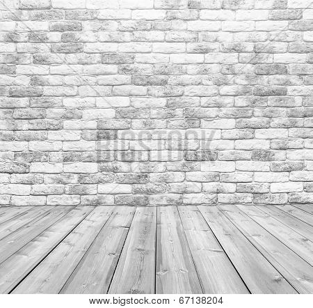 old gray room with brick wall, vintage background