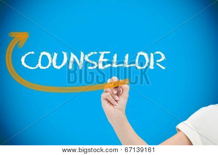 Businesswoman writing the word counsellor against blue background with vignette