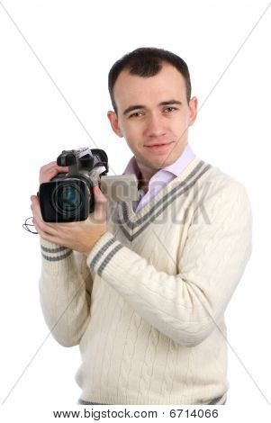 Young Man Holding A Camcorder