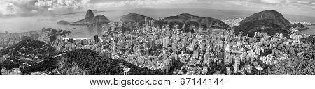 Panoramic View Of Rio Citycsape Black And White