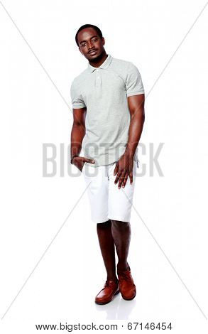 Studio shot of a handsome african man over white background