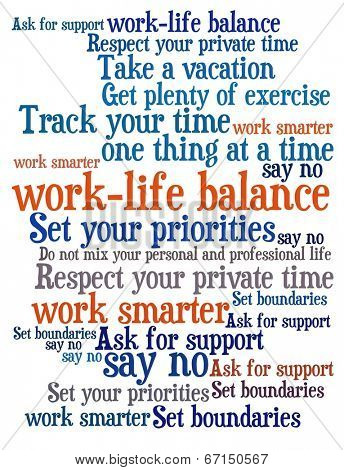 Work Life Balance Tips in word collage