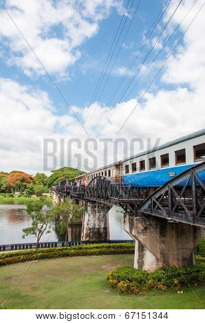 Kanchanaburi, Thailand - May 23, 2014: Train On The Bridge Over River Kwai In Kanchanaburi Province,