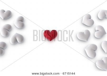 Red Heart Between White Hearts