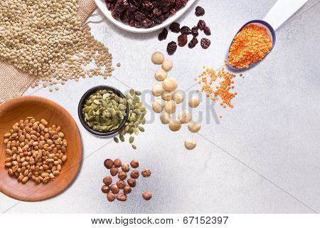 Assorted Grains, Dried Fruit And Nuts