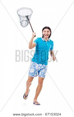 Funny guy with empty butterfly net