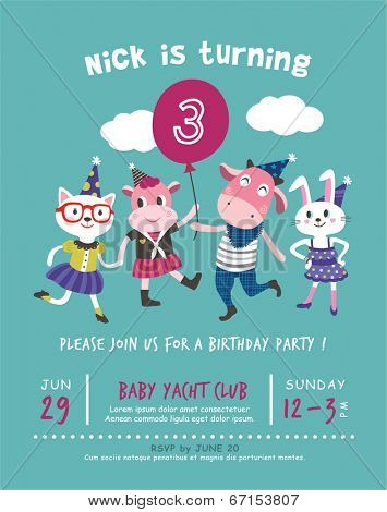3rd Birthday Party Invitation Card