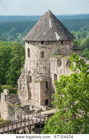 Ruins of the beautiful castle in town of Cesis was a residence of the Livonian order (teutonic knights) in the middle ages, Latvia