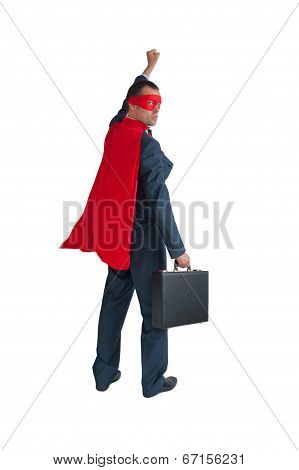 Superhero Businessman Fist Pumping On White