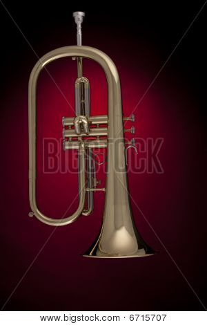 Flugelhorn Trumpet Isolated Against Red
