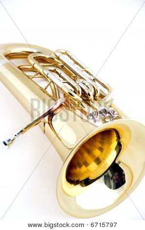 Gold Brass Tuba Isolated On White