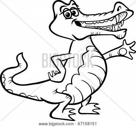Crocodile Animal Cartoon Coloring Book