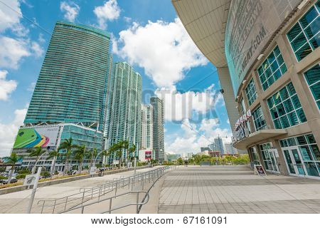 MIAMI,USA - MAY 27,2014 : The American Airlines Arena and skyscrapers along Biscayne Boulevard in downtown Miami