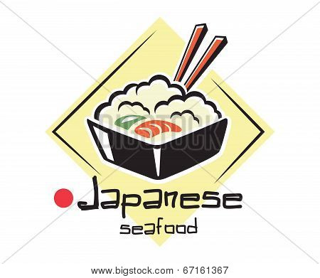 Japanese seafood label or icon