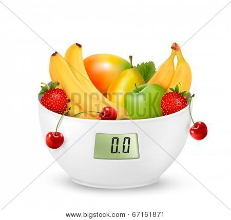 Fruit with in a digital weight scale. Diet concept. Raster version
