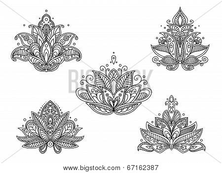 Set of persian paisley flowers