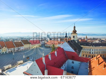 Rows of red roofs near Piata Mare in Sibiu