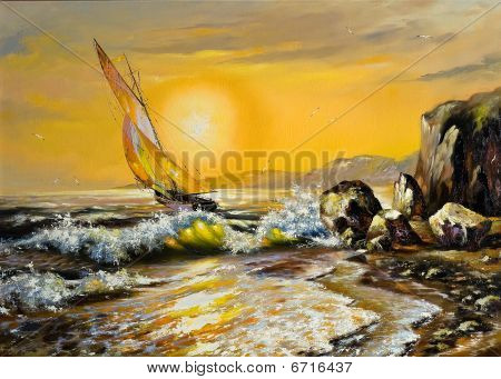 Sea Landscape With A Sailing Boat