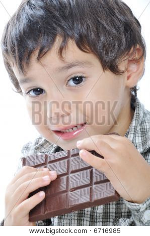 Cute Kid Eating Chocolate