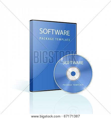 Software package. DVD case and disk with reflections on white background. Vector illustration.