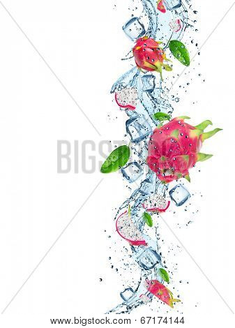 Fresh dragon fruit with water splash over white background