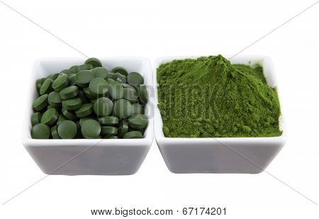 Young barley and chlorella spirulina. Detox superfood.