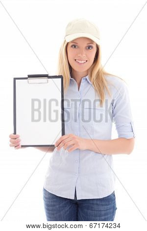 Young Post Delivery Service Woman With Blank Clipboard Isolated On White