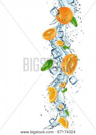 Fresh orange with water splash over white background